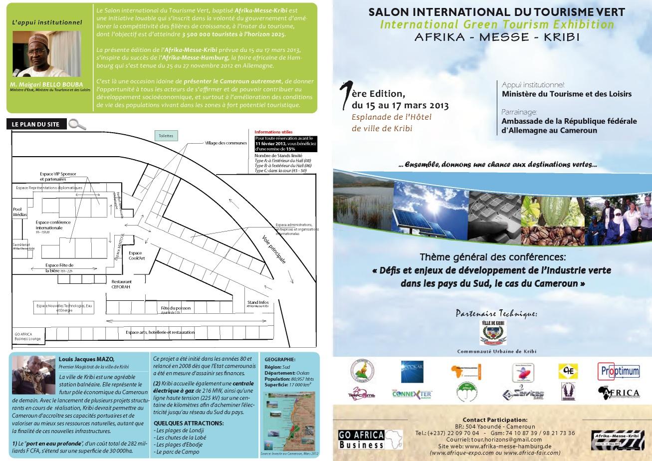 Programme du salon du tourisme vert du 15 au 17 Mai à Kribi