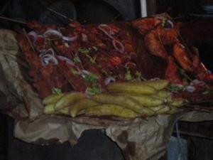 Brochettes de porcs et plantains murs