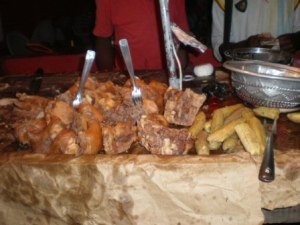 Morceaux de porc vendus par Mme Tayong